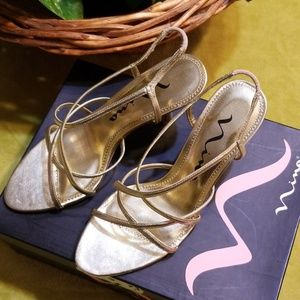 NINA Gold Foil Strap Heels, Size 6-1/2 M